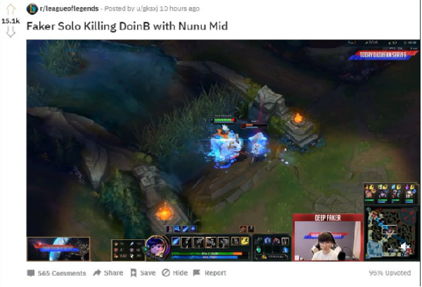 Article Faker play Nunu mid lane solo kill DoinB received more than 15,000 upvotes on Reddit